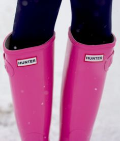 Pink hunter boots.