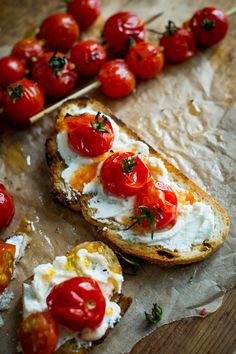 """Grilled Tomato Skewers """"Lollipops"""" Toasts by whiteonricecouple #Tomato_Skewers #Toast"""