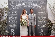 Newlyweds on a Chalkboard