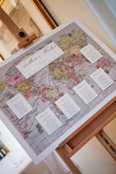 Table plan using a map. More World Map ideas at http://www.toptableplanner.com/blog/world-map-wedding-seating-plans