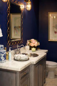Navy blue and gold powder bath... @AceHardware
