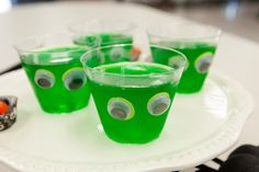Jiggly-eyed Jello cups for a Halloween party.