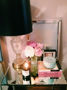 night stand decor ideas, nighstand decor, blush pink, night stand decorations, nightstand decorations