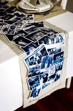 craft, tabl runner, baby shower ideas, anniversary parties, photo table runner, diy, parti idea, table runners, christma
