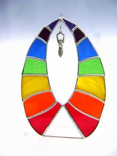 Chakra Rainbow Stained Glass Suncatcher by GothicGlassStudio, $60.00