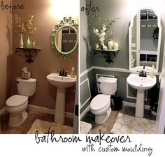 A bathroom makeover with custom moulding. Tutorials included. created for houseofhepworths.com from littlebitofpaint.com