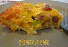Breakfast Bake - with crescent rolls, sausage (or bacon or ham), cheese, green peppers