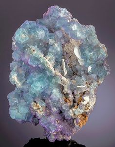 Blue-green and lavender Fluorite cubes with Barite - Iran