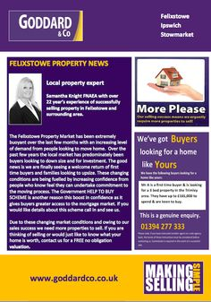 Felixstowe Property News.  We are looking for buyers of homes like yours!  Local property experts Goddard Co in association with Felixstoweweb.