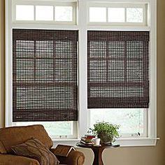 transom windows, window dressings, bamboo roman shades, living rooms, wood blinds, bay windows, master bedrooms, window treatments, window seats