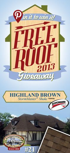 Re-pin this gorgeous StormMaster Shake Highland Brown Shingle for your chance to win in the Sherriff-Goslin Pin It To Win It FREE ROOF Giveaway. Available in Sherriff-Goslin service area only. Re-pin weekly for more chances to win! | Stay Updated! Click the following link to receive contest updates. http://www.sherriffgoslin.com/repin Learn More about this shingle here: http://www.sherriffgoslin.com/tabbed.php?section_url=142