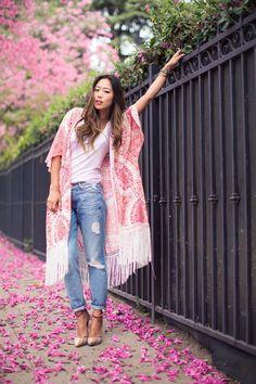 pink fringed kimono
