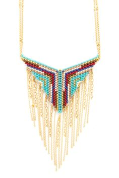 Turquoise Mix Chain Tassel Necklace - Chan Luu