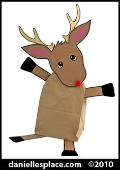This adorable reindeer craft project was made using paper bags and construction paper.