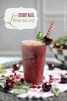Cherry Basil Limonana - a slushy summer lemonade with a hint of cherry and basil!