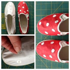 Fabric paint and reinforcements on canvas shoes.