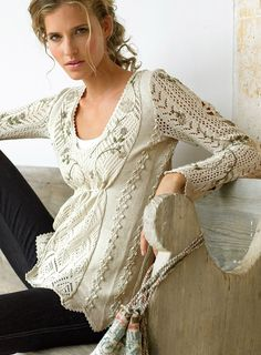 craft for summer: lace sweater free pattern This site has some very interesting ideas with patterns.