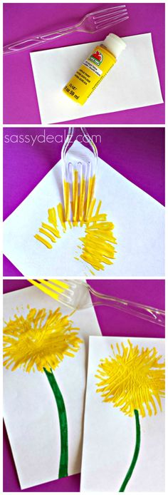 fork, diy crafts, flower crafts, dandelion craft for kids, easy kid crafts for spring