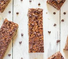 Gluten-free Chocolate Peanut Bars | These granola bars are a no-bake breakfast so why wouldn't you make it? You can make these soft, chewy, #vegan, gluten-free, and healthier DIY bars in 10 minutes.  @Averie Sunshine {Averie Cooks} Sunshine {Averie Cooks}