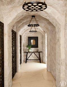 entry hallway, interior, architectural digest, stone walls, architecture, pendant lights, beach vacations, entri hallway, wine cellars
