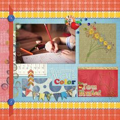 """Color my World - Created with Janet's """"Bouquet of Freshly Sharpened Pencils"""" https://www.pixelscrapper.com/janet-scott/kits/a-bouquet-of-freshly-sharpened-pencils-bundle-rainbow-colorful-school-education  Also used her """"Love Notes"""" which coordinates with all three of her school themed bundles. https://www.pixelscrapper.com/janet-scott/kits/love-notes-school-bundle-elementary-vintage-antique-education-rainbow-colorful"""