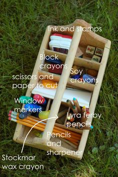 Create an art caddy for your little one stocked with high quality supplies. Via Playful Learning: Toddler Art Caddy