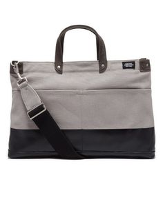 Grey / Black Canvas Leather Tote