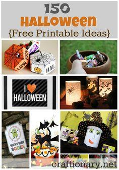 150 free printable Halloween ideas.