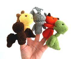 5 dinosaurus finger puppet crocheted stegosaurus by crochAndi, $32.00
