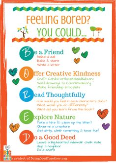 Big-Hearted Boredom Busters from DoingGoodTogether.org: a menu of simple kindness for kids and families.
