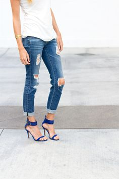 ripped jeans + heels.
