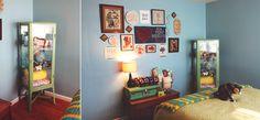 Bedroom Makeover! Vintage inspired bedroom.  Gallery wall.  Vintage suitcase. Mint green ikea fabrikor shelf.  Simple Splendor
