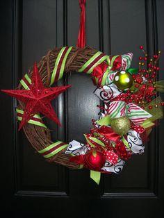 Whimsical Christmas Wreath with Star - Nautical Christmas Wreath - Grapevine Ribbon Wreath. $50.00, via Etsy.