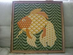 BARGELLO NEEDLEPOINT FISH STICHED WITH WOOL YARN