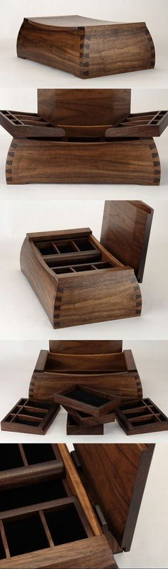 5th wedding anniversary box. 5 dovetails on each corner and 5 removable trays. Handmade from black walnut