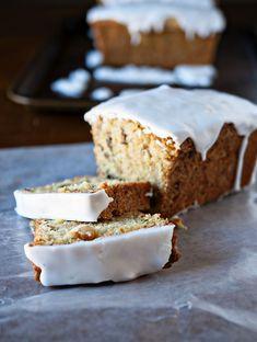 Zucchini Walnut Bread with Lemon Glaze
