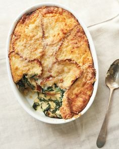 Spinach-And-Fontina Strata is the perfect brunch for a crowd   More foodie lusciousness here: http://mylusciouslife.com/photo-galleries/wining-dining-entertaining-and-celebrating/