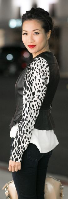 #Leopard #Layers : #Asymmetric #Vest & #Animal-print #Sleeves by Wendy's Lookbook