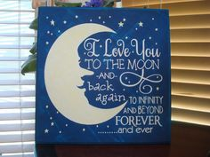 I Love You To The Moon and Back CANVAS Sign Stars Man in the Moon Decor #Handmade #Contemporary Stars, Wood Signs, Moon And Back Canvas, Moon Decor, Decorations, Canvases, Bowls