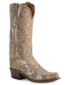 Lucchese Boots - 1883 Precious Metal Python Print Cowgirl Boots - Snip Toe