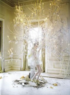 tree, vogue italia, dream, fairy tales, branch, fairi, tim walker, candl, light
