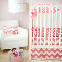 Considering making the bedding or having it made. This could be some inspiration. I like the chevron here. This is less busy. Of course it needs some teal/aqua/turquoise (whatever it's officially called ;-)  Zig Zag Baby in Hot Pink Girls Crib Bedding Collection from New Arrivals Inc