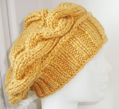 Knitted Beanie for Womens in Mustard Yellow the Slouch