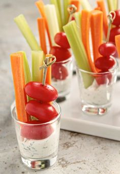 Mini veggie dips. Here is a healthy and fun class party snack idea, just use plastic cups instead of glass.  Children will love feeling like adults with these tasty treats! And best yet, no double dipping!