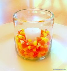 Candy corns and votives | 25 Easy Fall Decorating Ideas | Bright Bold and Beautiful