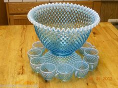 RARE Large Fenton Blue Hobnail Punch Bowl Set with Stand Signed Unused | eBay