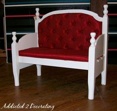 Bed headboard to bench!  I don't need a bench!  But this is just so adorable!