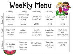 kids breakfast menu calendar | Sample Menus - Our Place Preschool