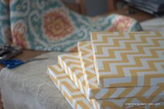 Covering Canvas in fabric - quick DIY home decor