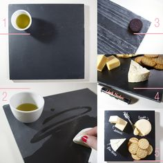 DIY // Slate Cheeseboard (costs $ 5.00 & takes no time at all) chees board, diy slate, slate cheeseboard, diy chalkboard cheese tray, slate tile, food presentation, crafti idea, cheese boards, cocktail parti
